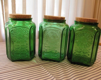 Vintage Wheaton Jar / Canister - Emerald Green Sunflower / Daisy Design - Cork Stoppers - Selling by Each -