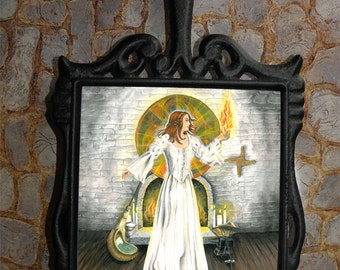 Magical Trivet Featuring Bridget Goddess of the Hearth Art