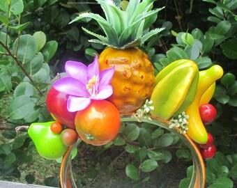 Tropical Fruits and purple flowers Headband - Carmen Miranda style -