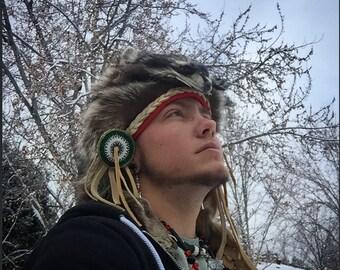 Coonskin Cap Raccoon hat Raccoon headdress Native American Made Beadwork beaded medallions CUSTOM 4 YOU