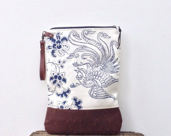 SALE Hand block printed linen & waxed canvas foldover zip pouch clutch with leather wristlet