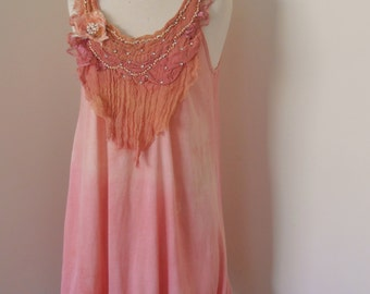 altered couture upcycled dress, cotton dusty pink dress, hand beaded lace neckline, boho lightweight tunic dress