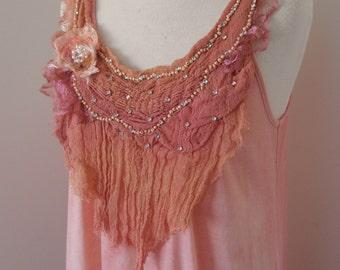 upcycled dress, cotton dusty pink dress, hand beaded lace neckline, boho lightweight tunic dress