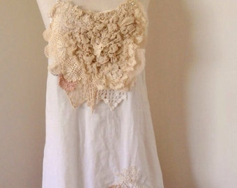 upcycled dress, white cotton strappy dress, hand beaded, vintage lace, beach boho lightweight tunic dress