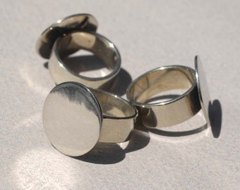 Ring Size 8 Ring Blank Disc Glue Pad 20mm Nickel Silver