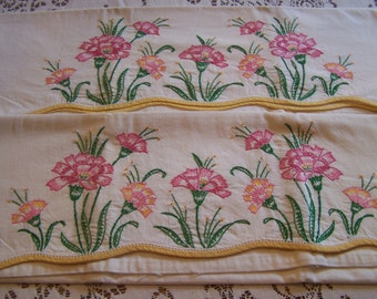 Vintage Pair Embroidered Pillowcases, Mid Century, Crisp White Cotton, Pink Carnations, Standard Size Pillowcases