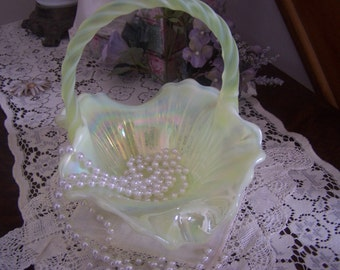 Vintage Iridescent Fenton Basket, Ruffled Rim Pearly White, Pale Green, Cottage Chic