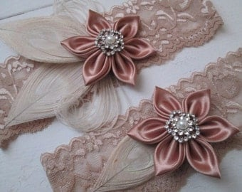 Rose Gold Wedding Garter Set, Ivory Peacock Bridal Garters, Blush Pink Garter, Champagne- Nude- Beige Garter, Country- Rustic- Gatsby Bride