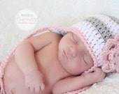 Newborn Photo Prop, Crochet Hat, Baby Girl,  Earflap Hat, Stripes,  Grey, White, PInk - Sizes NEWBORN to 12 MONTHS  more color options