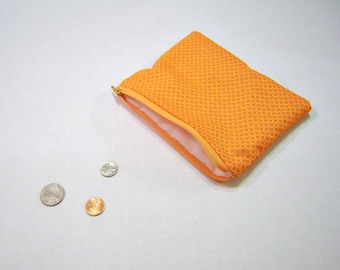 Orange Zippered Coin Pouch
