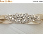 ON SALE Wedding Belt, BAILEY, Bridal Sash, Pearl Sash, Rhinestone Sash, Bridal Belt, Wedding Sash, Flower Girl Sash