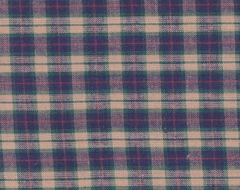 "Navy Blue ~ Cream ~ Green & Red Plaid Fabric 18"" x 38"" Remnant ~ Material 4 Scrap Quilt Piecing - Fun Sewing Projects  Inventory # PL 4"