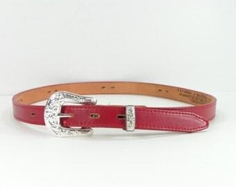 western belt womens 30 cherry red cowboy nocona cowgirl chrome buckle made in u.s.a.