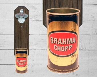 Brahma Wall Mounted Bottle Opener with Vintage Brazil Beer Can Cap Catcher - Gift for Guy