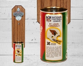Man Gift Saint Louis Cardinals Wall Mounted Bottle Opener with Vintage Canada Dry Football Can Cap Catcher - Gift for Groomsmen or Best Man