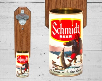 Beer Gifts Schmidt Beer Wall Mounted Bottle Opener with Vintage Ice Fishing Beer Can Cap Catcher