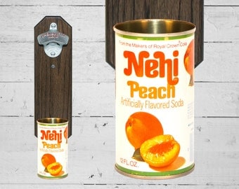 Nehi Peach Wall Mounted Bottle Opener with Vintage Soda Pop Can Cap Catcher