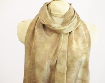 """Silk Scarf - Natural Dye Ecoprint - Ready To Ship EcoGift - Buff Taupe - HA011610 -  approx. 14""""x72"""" (35 x 182cm)"""