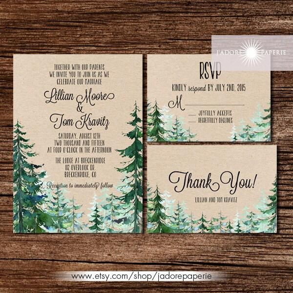 Outdoor Wedding Invitations: Forest Wedding Invitation Rustic Watercolor Tree Invite