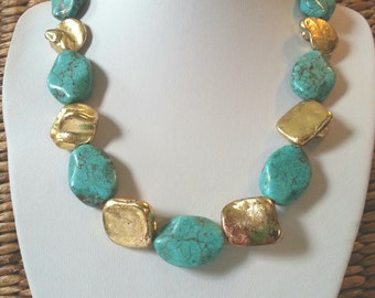 big bold gold and Turquoise necklace