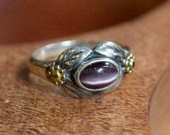 Gold Silver Ring, purple Cat eye ring, gemstone ring, woodland ring, Two tones ring, leaves ring, botanical ring - Wonder R2185-1