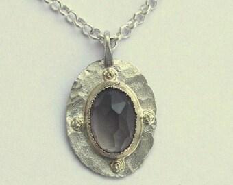 Smoky quartz necklace, boho pendant, silver gold necklace, hippie necklace, gypsy necklace, two tone pendant - Behind the scenes N8853X-1