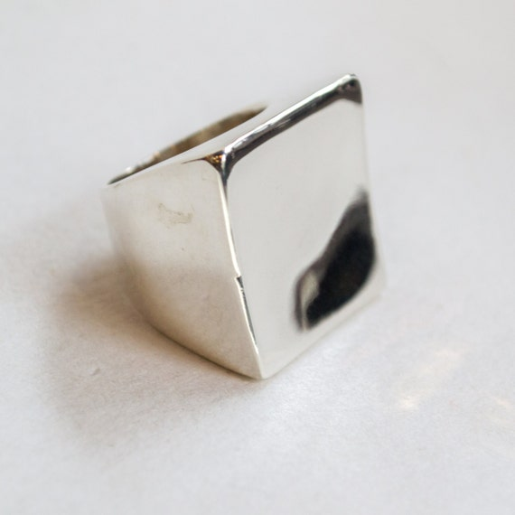 Square Silver Ring, Statement Silver Ring, Cocktail Ring, Bohemian Ring, Chunky Ring, Boho jewelry, Large silver ring - Geometric - R2263