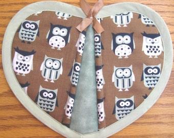 Owls on Brown Potholders - Set of 2