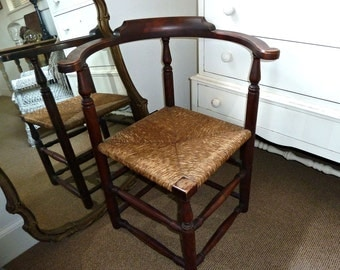 Antique Corner Chair Solid Mahogany Woven Rush Seat Turned Uprights & Stretchers