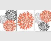 Orange Gray Wall Art, Home Decor, Flower Burst, Floral, Bathroom, Living Room, Bedroom, Spa, Kitchen, Peony, Set of 3 Prints or Canvas