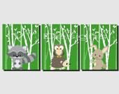 Printable Nursery Art, Baby Boy Nursery, Woodland Animals, Baby Girl,Forest Animals, Kids Wall Art,Raccoon,Hedgehog,Owl, Set of 3, JPG Files