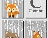 Woodland Nursery Wall Art, Forest Animals, Kids Wall Art, Baby Boy Nursery, Girl Nursery,Trees, Fox,Deer,Bear, Set of 4, Printable JPG Files