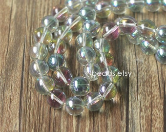 Glass Smooth Round beads 12mm, Sparkly Crystal beads, Green Rose (GM011-4)/ 55pcs