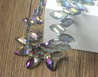 Leaf Crystal Glass Faceted Beads Charms 25mm Sparkly Purple (TS24-5)/ 20 beads