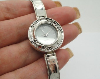 Israel Original Handmade Fine Silver Garnet Bracelet Watch (sw309)