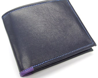 Blue leather double ID wallet with purple lining