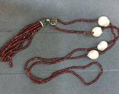 Garnet Jewelry, Garnet Gemstone And Baroque Pearl Swarovski Crystal Stone ,Garnet  Tassel Necklace