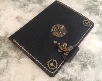 Refillable leather journal - black leather journal - skull leather journal - steampunk leather notebook - leather steampunk skull journal