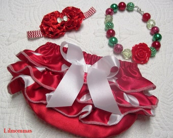 Baby girl red satin Holiday ruffled bloomers, matching headband, and bubble gum necklace, Christmas set, photo prop, Holdiay baby clothes