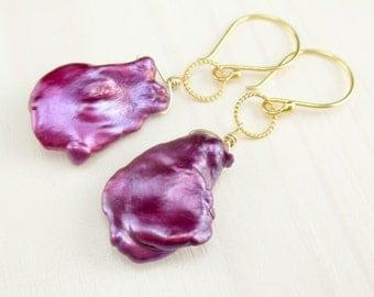 Magenta Pearl Earrings, Gold Petal Pearl Earrings, Bright Pink Freshwater Pearl Earrings, Keishi Keshi Pearl Gold Dangle, Baroque Berry Drop