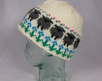 Sheep and Flowers Hand-Knit Hat
