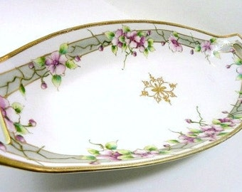Antique Nippon Morimura Celery Dish Purple Flowers and Gold Moriage, Circa 1911//Vintage Serveware