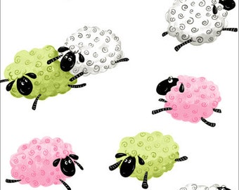 "LAL the LAMB ~ 100% Cotton Fabric ~ Flying Sheep ~ Quilt Fabric ~ 1/2 Yard Cut ~ 18"" x 43"" by Susybee Fabrics"