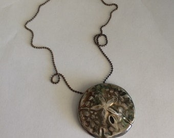 Sand Dollar Necklace - Ready made and quick ships in 24 hours Sand Dollar Sanddollar Silver Jewelry