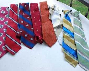Vintage Men's Rockabilly Neckties Lot of 8  1950's - 1970's