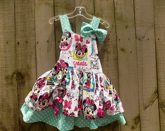 Girly Mouse Dress with Bow   size 3T