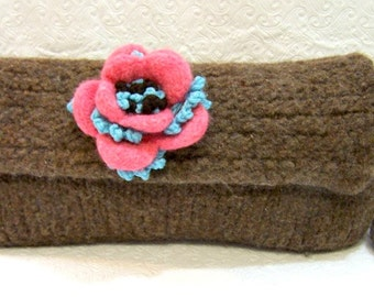 Felted Wool Clutch Bag Brown, Wool Baguette Purse with Felted Flower, Boiled Wool Purse, Knit Wool Clutch, Brown Wool Purse, Floral Purse