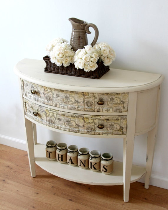 Items similar to sold half moon entryway table hallway table table with drawers painted - Half table entryway ...