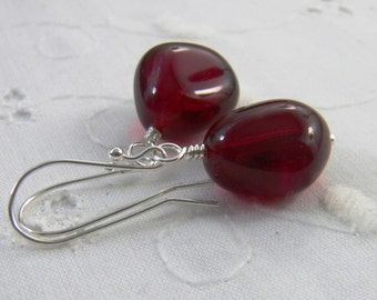 Garnet Red Earrings, Crimson, Dark Red, January Birthstone, Teardrop Earrings, Sterling Silver Handmade Jewelry