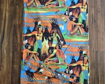 RARE Vintage 50s Native American indian print bedspread / vintage bedsheet childs duvet cover / American southwest print bedding
